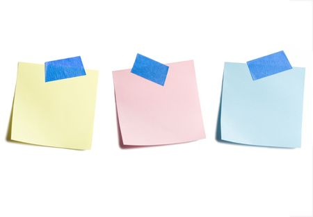 Three Sticky Notes Isolated on White Background Banco de Imagens - 3463038