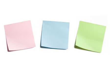 Three Sticky Notes Isolated on White Background Banco de Imagens - 3463020