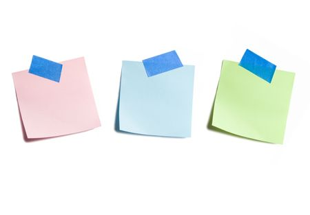 Three Sticky Notes Isolated on White Background Banco de Imagens - 3463022