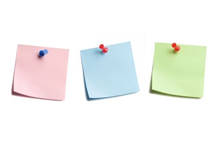 Three Sticky Notes Isolated on White Background Banco de Imagens - 3463021