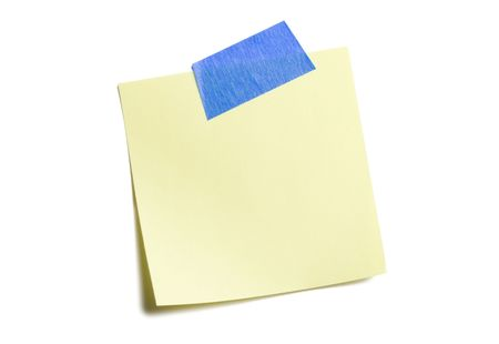 Yellow sticky note isolated on white Banco de Imagens - 3463006