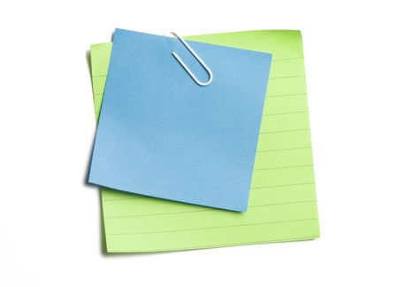 Clipped stacked sticky notes on white background Stock Photo - 3463137
