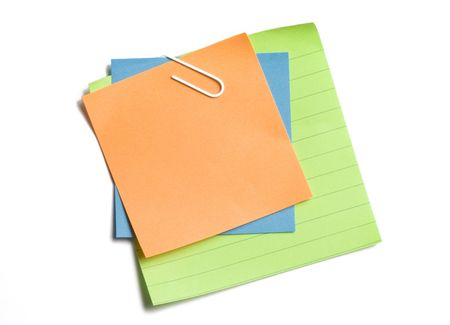 Clipped stacked sticky notes on white background Stock Photo - 3463139