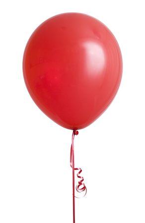 白い背景に分離された活気に満ちた赤い風船 写真素材