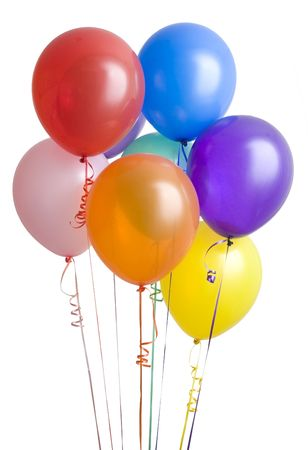 Group of colorful balloons isolated on white background photo