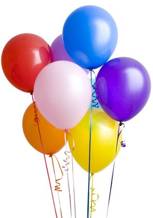 helium balloon: Group of colorful balloons isolated on white background