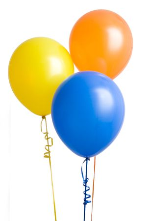 Three colorful balloons isolated on white background