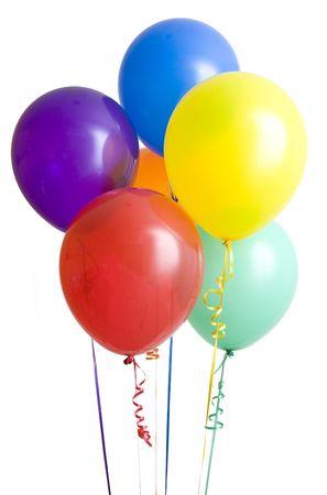 festividades: Grupo de los globos de colores aislados sobre fondo blanco