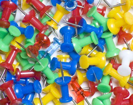 Group of thumb tacks close up 版權商用圖片