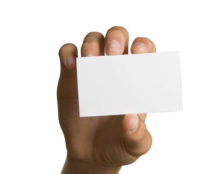 Blank business card in hand isolated on white Stock Photo - 3517467