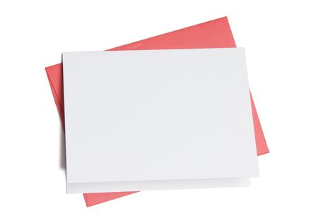 Blank greeting card on top of colored envelope isolated on white background Banque d'images