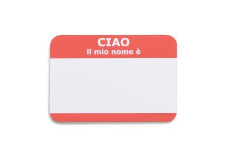 Italian hello name tag isolated on white background Stock Photo - 3552357