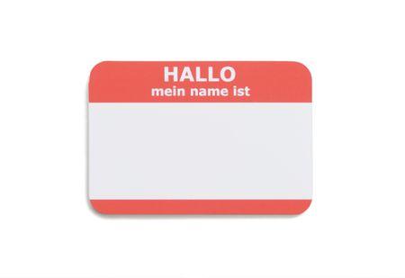 German hello name tag isolated on white background Stock Photo - 3552359