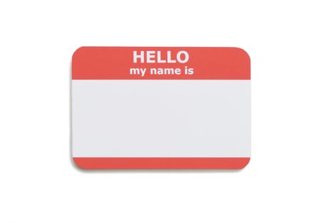 Hello name tag isolated on white background Stock Photo - 3552358