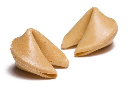 白い背景の上の 2 つのフォーチュン クッキー isloated 写真素材 - 3572694