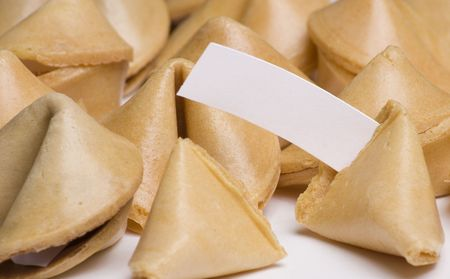 Fortune cookies with blank fortune Imagens