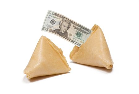 Two fortune cookies isloated on white  with $20 message Stock Photo