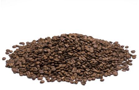 국경의 배경에 적합한 흰색 배경에 커피 콩