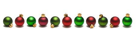 白地に赤と緑のクリスマスの装飾の国境します。 写真素材
