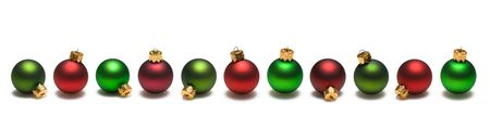 Red and green christmas ornaments border on white background Imagens