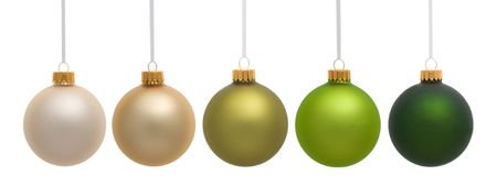 blue green background: Five hanging Christmas ornaments on white background