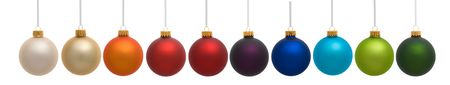 Ten colorful Christmas ornaments on white background