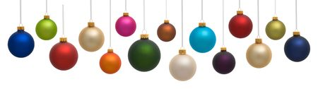 Many colorful Christmas ornaments on white background Imagens