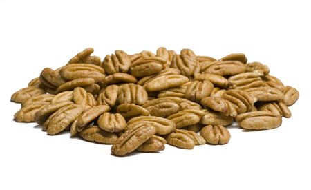 Pecans isolated on white background