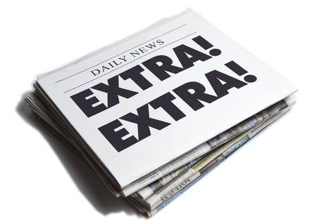 Extra Extra newspaper isolated on white background Stock Photo - 4998656