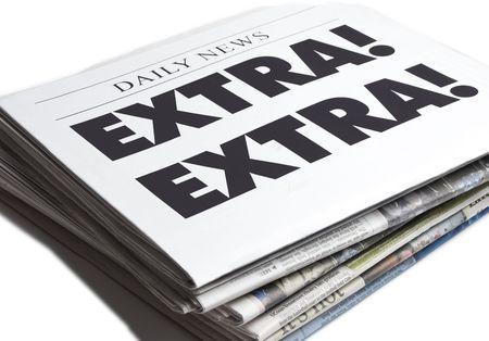 Extra Extra newspaper isolated on white background Stock Photo - 4998662