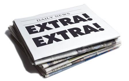 Extra Extra newspaper isolated on white background Stock Photo - 4998657