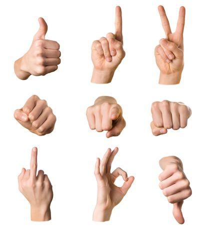 simbolo della pace: Variet� di mani in diverse pose e le indicazioni su sfondo bianco Archivio Fotografico