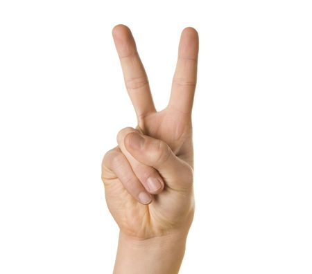 two hands: Peace sign hand on white background Stock Photo