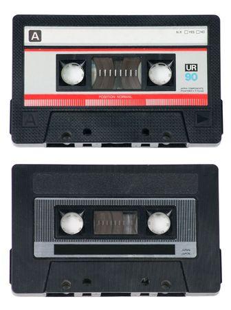 audio cassette: Two classic, retro audio cassette tapes on white background