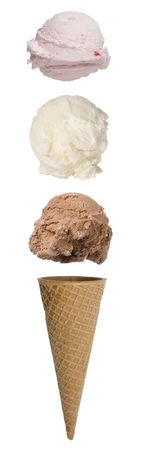 Triple scoop ice cream cone with scoops floating above cone Imagens