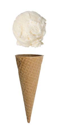 コーンの上に浮かんでスクープとバニラのアイス クリーム コーン