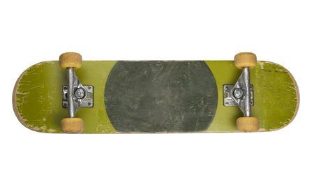 Bottom of skateboard isolated on white background photo