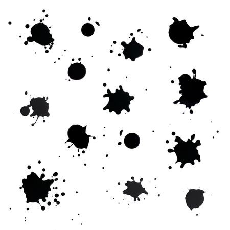 白い背景に黒の塗料スプラッタ