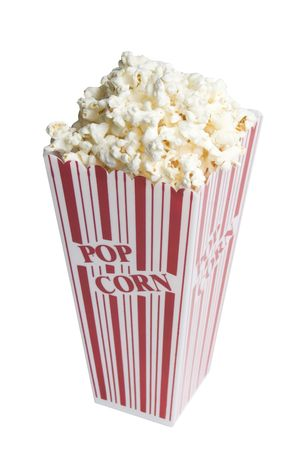 Popcorn in a popcorn box on white background