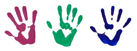 hand print: Colorful hand prints from hand painting on white background