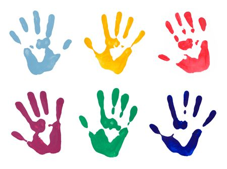 messy paint: Colorful hand prints from hand painting on white background