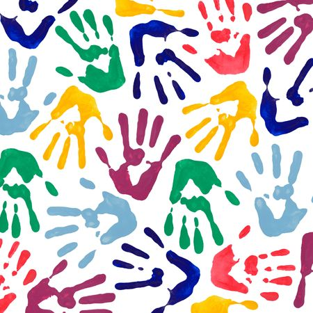 Colorful hand prints wallpaper or background from hand painting on white background