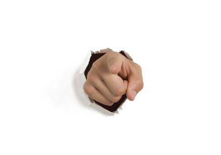 breaking through: Romper la mano apuntando a trav�s de la pared en blanco