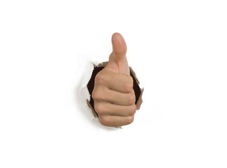 白い壁を突破成功手の親指