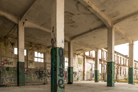 deserted: Fragment of an old and deserted factory Stock Photo
