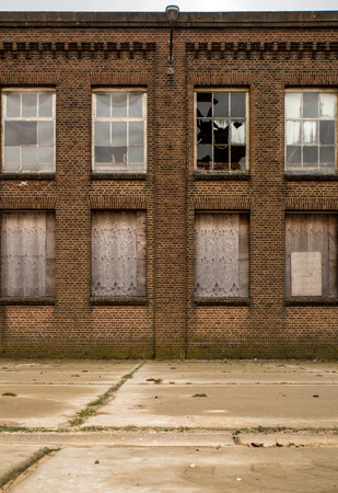 Facade of an old and deserted factory