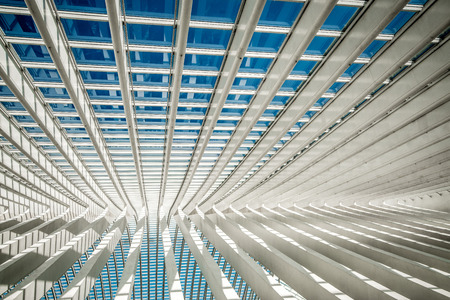 steel beams and glass roof