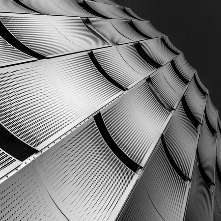 perforated: Steel plated and perforated facade Stock Photo