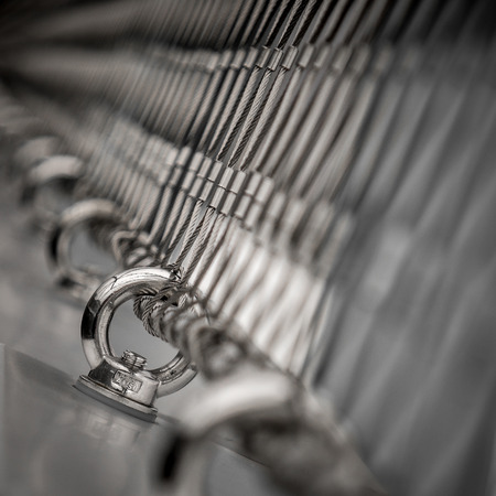 filming point of view: Metal rings and cables in focus Stock Photo