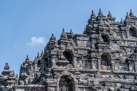The Borobudur is a Buddhist shrine 40 km northwest of Jogjakarta in the province of Central Java, in the center of the Indonesian island of Java. Besides the Prambanan and Kraton in Jogjakarta, it is one of the main tourist attractions of Central Java Standard-Bild - 130817708